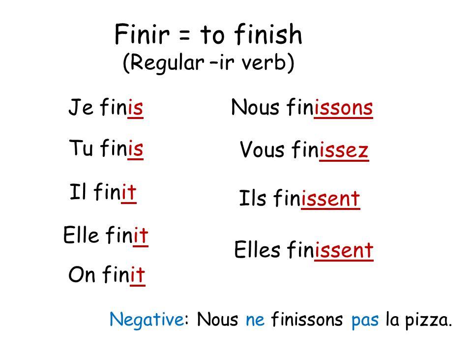 Finir = to finish (Regular –ir verb) Je finis Nous finissons Tu finis
