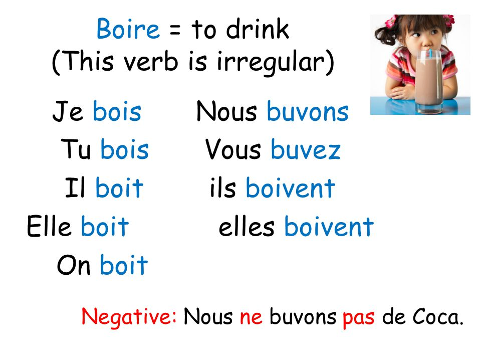 Boire = to drink (This verb is irregular)