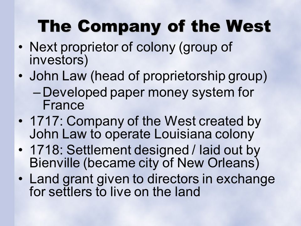 A Search for Colonists Early real estate advertising used by John Law in efforts to attract people to Louisiana.
