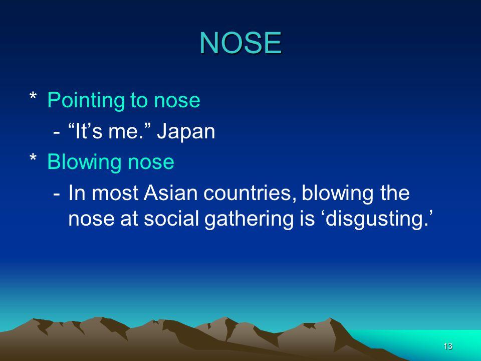 NOSE Pointing to nose It's me. Japan Blowing nose