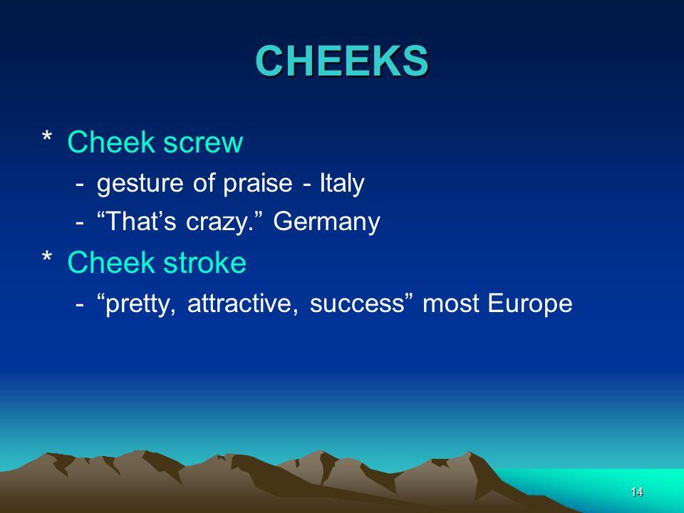 CHEEKS Cheek screw Cheek stroke gesture of praise - Italy