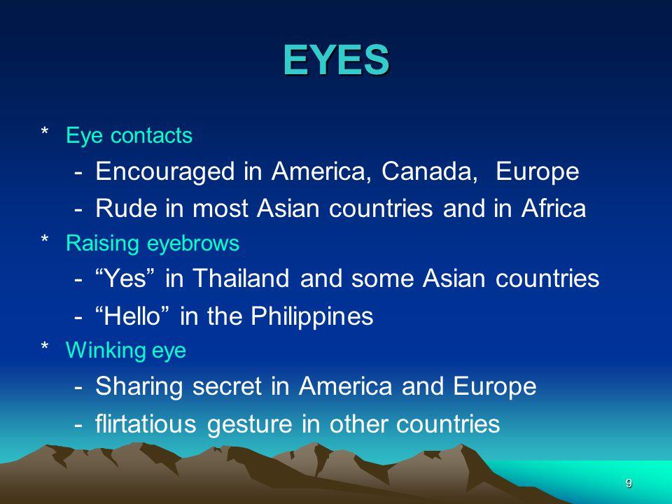 EYES Encouraged in America, Canada, Europe