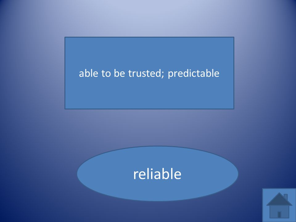 able to be trusted; predictable