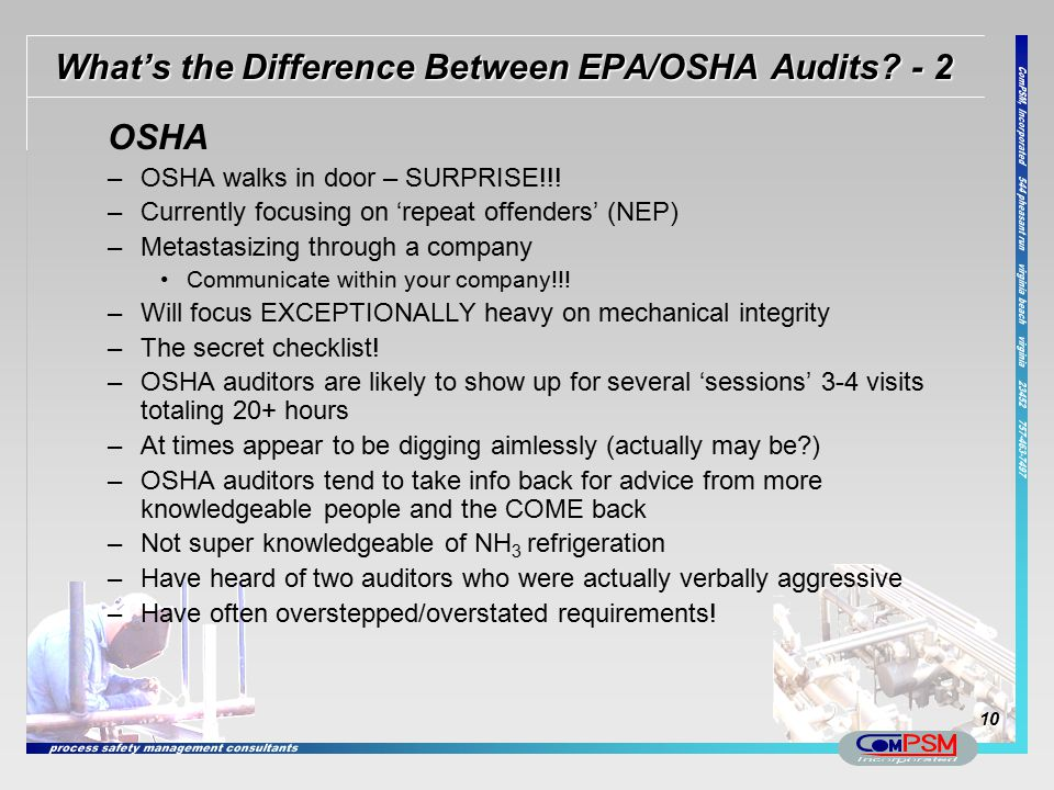 What's the Difference Between EPA/OSHA Audits - 2