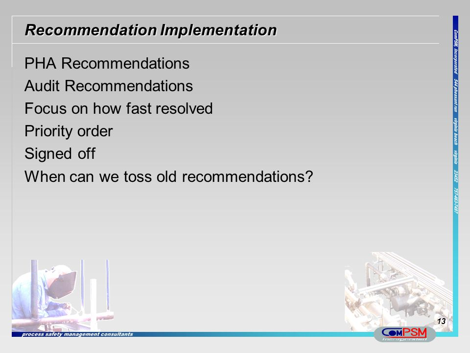 Recommendation Implementation