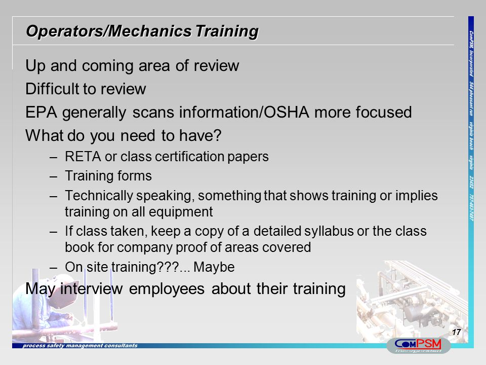 Operators/Mechanics Training
