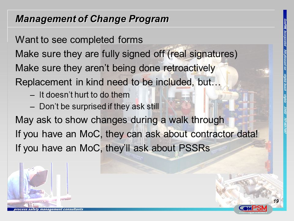 Management of Change Program