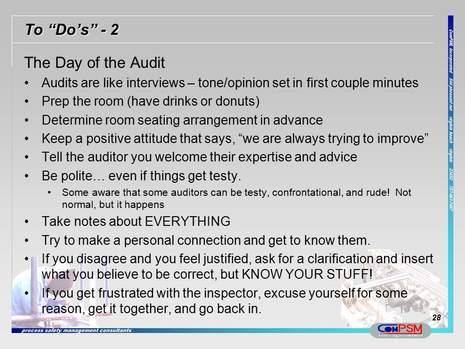 To Do's - 2 The Day of the Audit