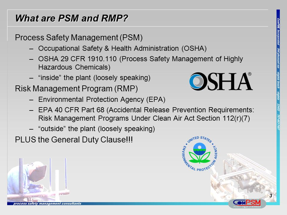 What are PSM and RMP Process Safety Management (PSM)