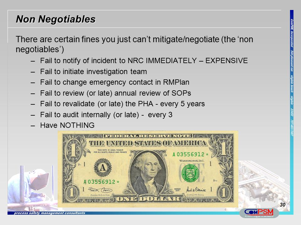 Non Negotiables There are certain fines you just can't mitigate/negotiate (the 'non negotiables')