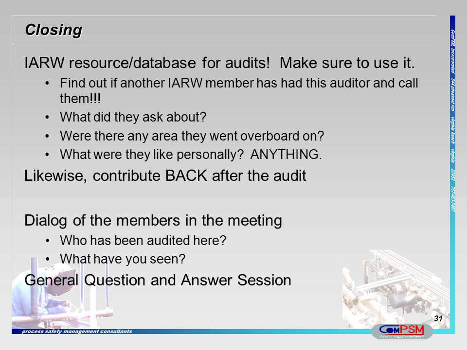 IARW resource/database for audits! Make sure to use it.