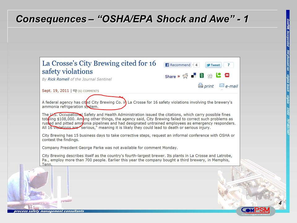 Consequences – OSHA/EPA Shock and Awe - 1