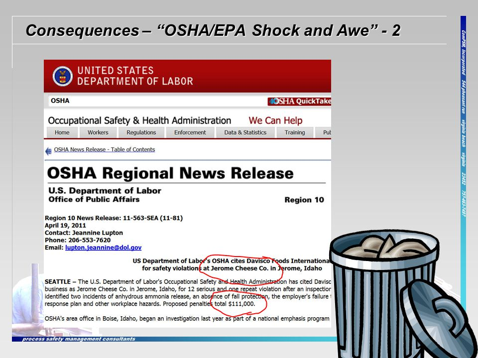 Consequences – OSHA/EPA Shock and Awe - 2