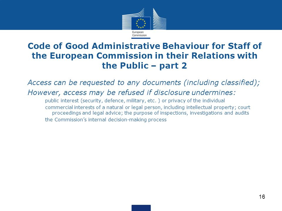 Code of Good Administrative Behaviour for Staff of the European Commission in their Relations with the Public – part 2