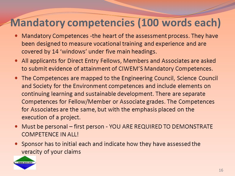 Mandatory competencies (100 words each)