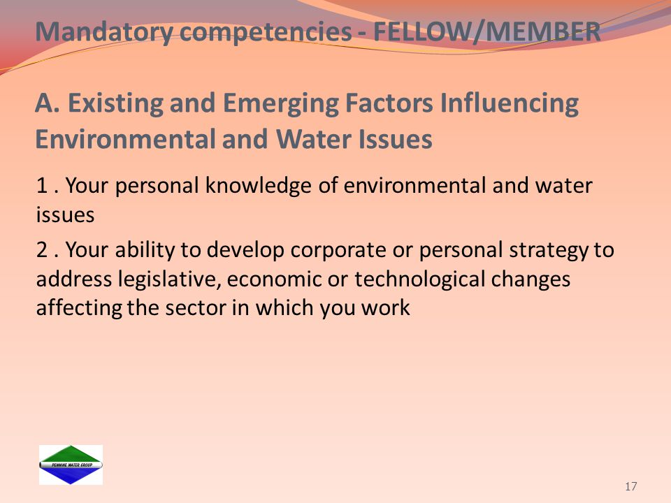Mandatory competencies - FELLOW/MEMBER A
