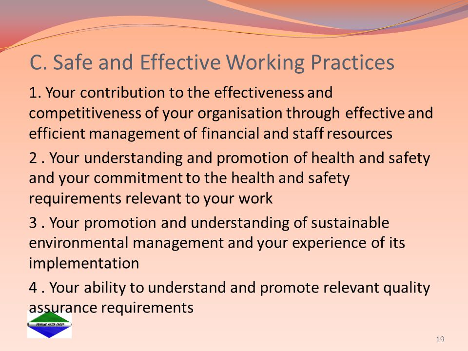 C. Safe and Effective Working Practices
