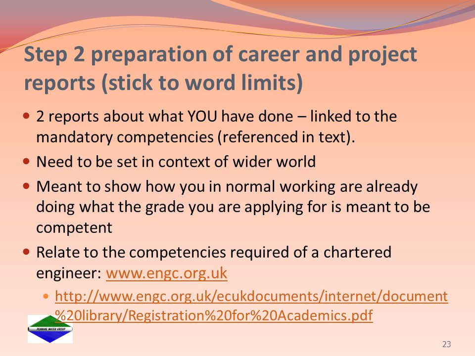 Step 2 preparation of career and project reports (stick to word limits)