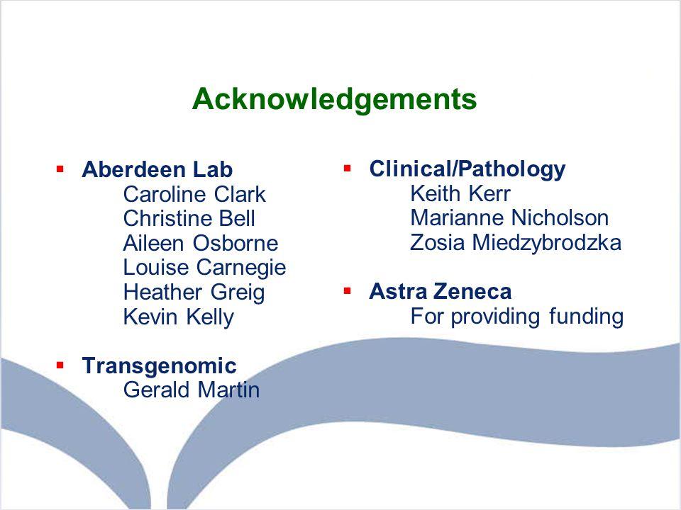 Acknowledgements Aberdeen Lab Clinical/Pathology Caroline Clark