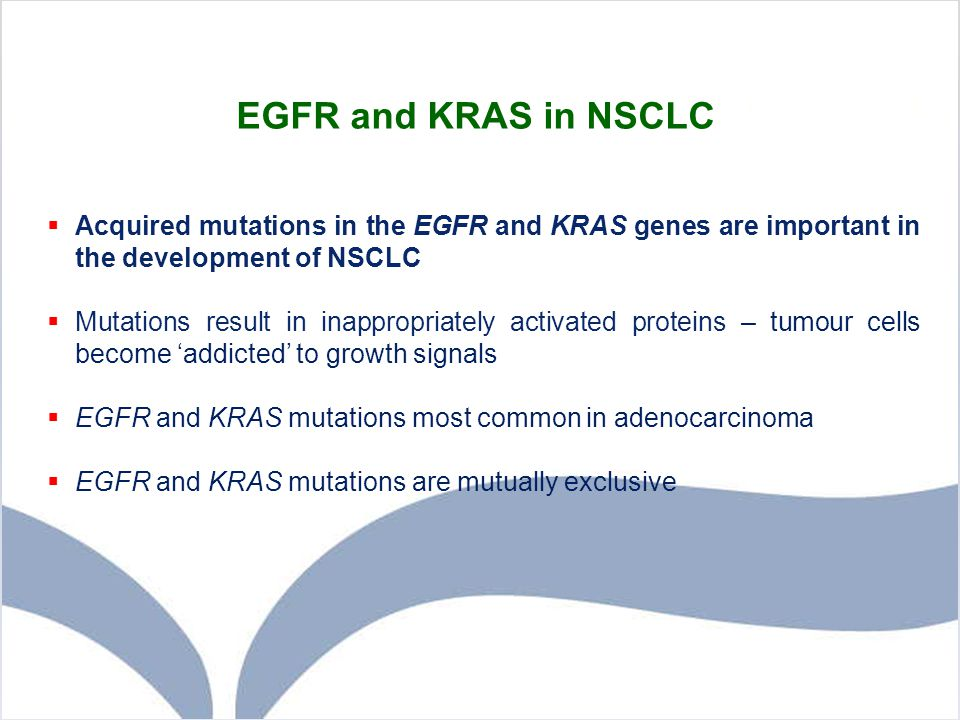EGFR and KRAS in NSCLC Acquired mutations in the EGFR and KRAS genes are important in the development of NSCLC.