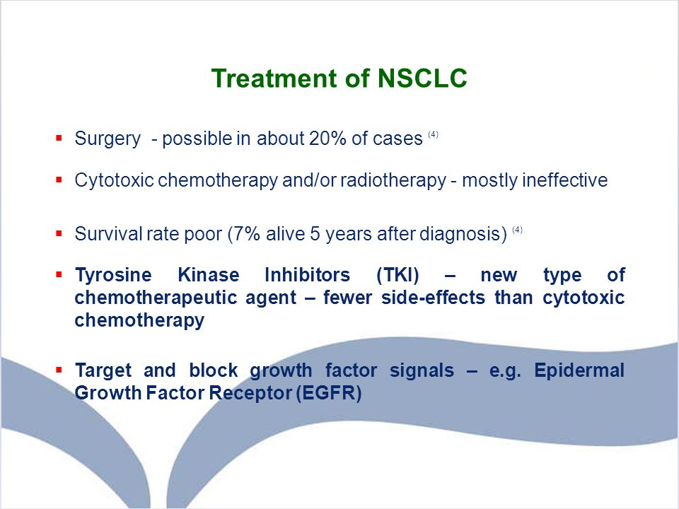Treatment of NSCLC Surgery - possible in about 20% of cases (4)