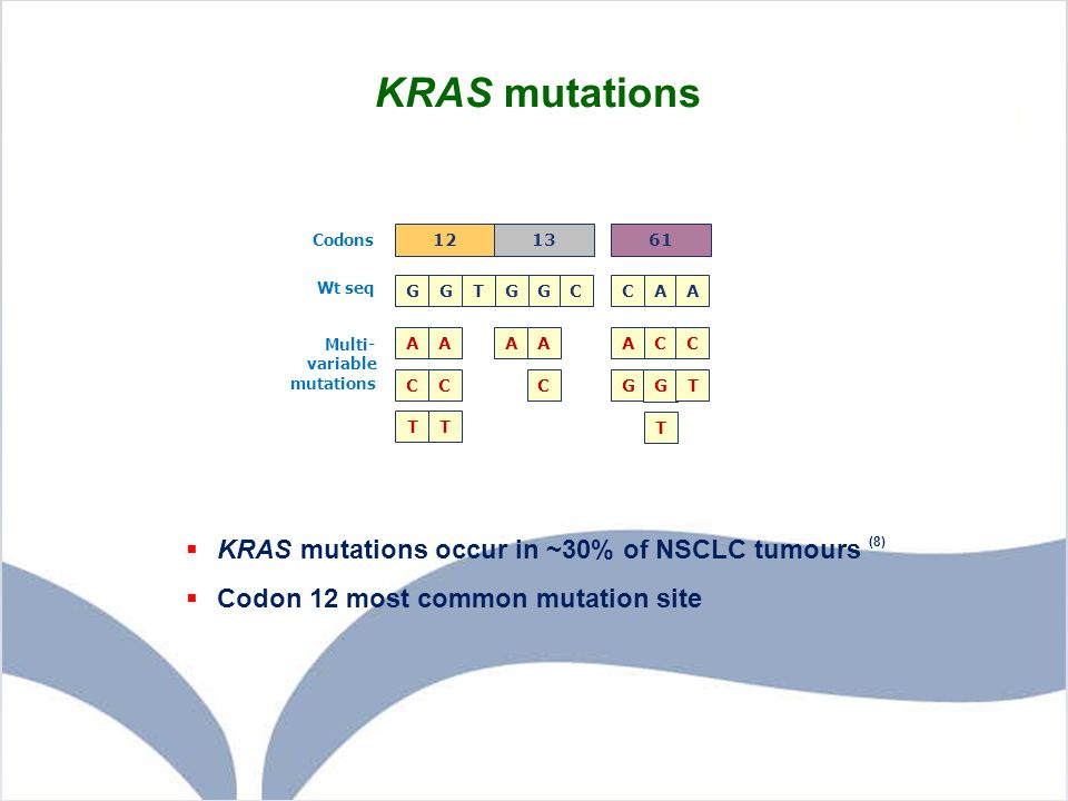 KRAS mutations KRAS mutations occur in ~30% of NSCLC tumours (8)