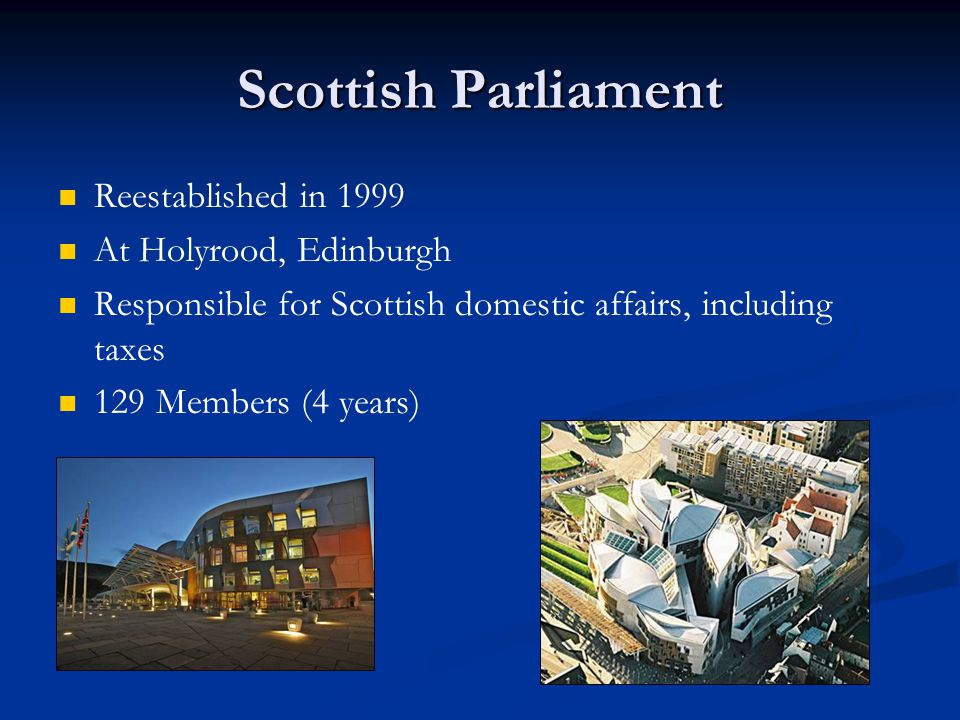Scottish Parliament Reestablished in 1999 At Holyrood, Edinburgh