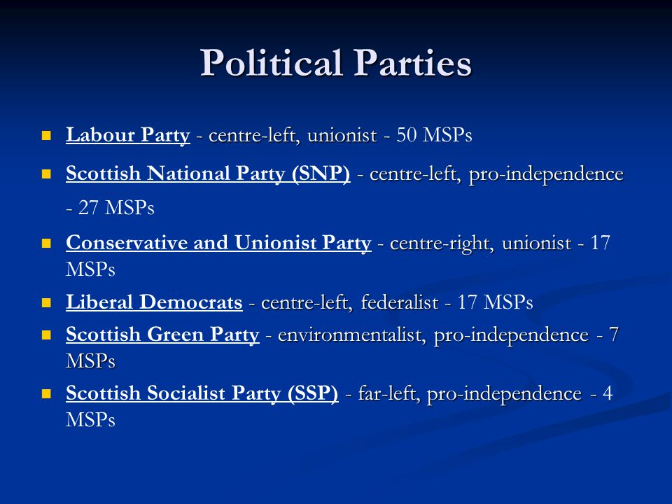 Political Parties Labour Party - centre-left, unionist - 50 MSPs