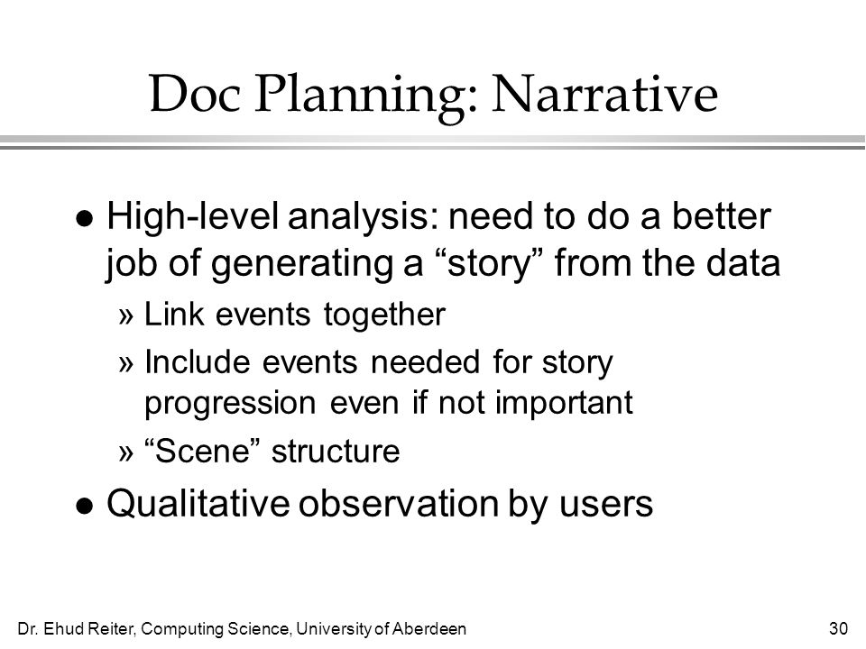 Doc Planning: Narrative