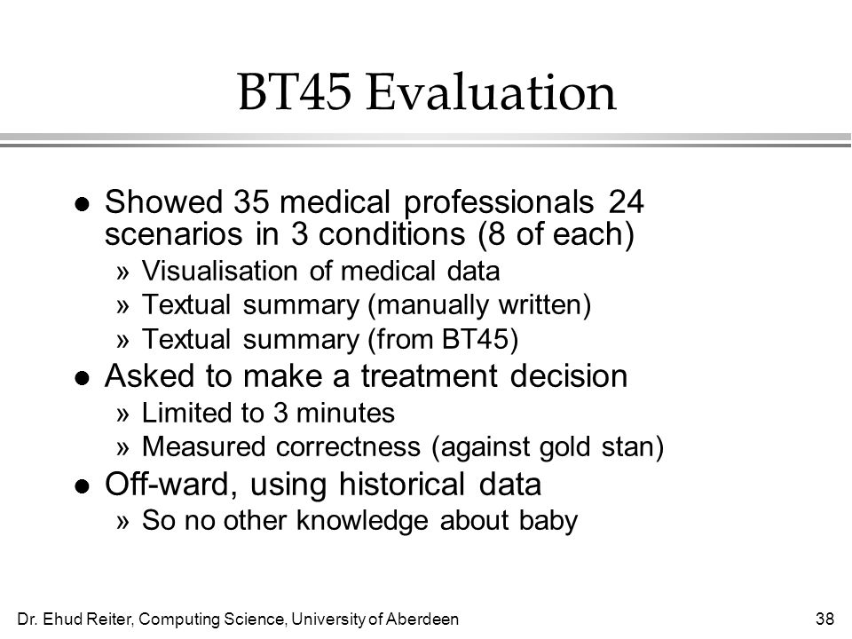 BT45 Evaluation Showed 35 medical professionals 24 scenarios in 3 conditions (8 of each) Visualisation of medical data.