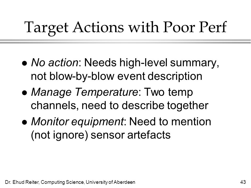 Target Actions with Poor Perf