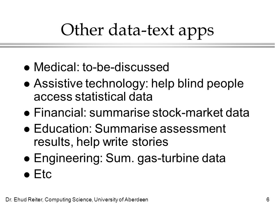 Other data-text apps Medical: to-be-discussed