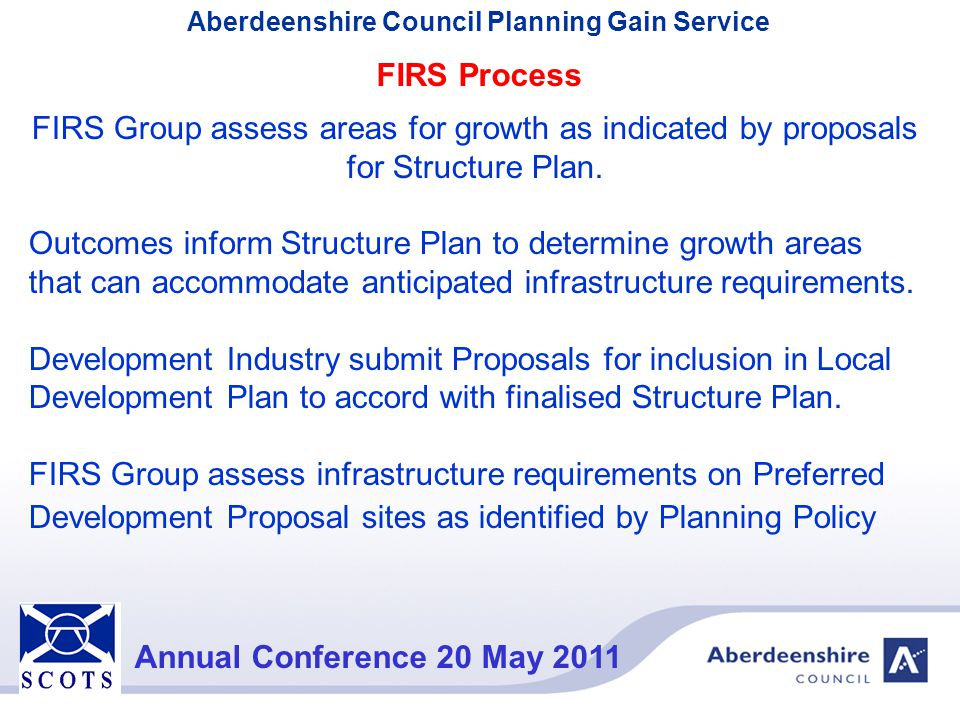 FIRS Process FIRS Group assess areas for growth as indicated by proposals for Structure Plan.