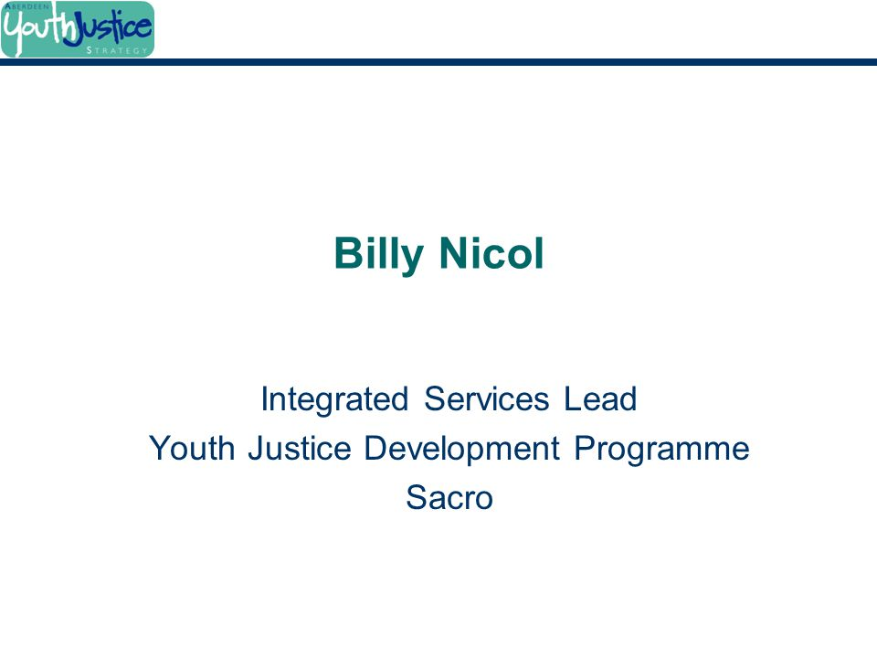 Integrated Services Lead Youth Justice Development Programme Sacro