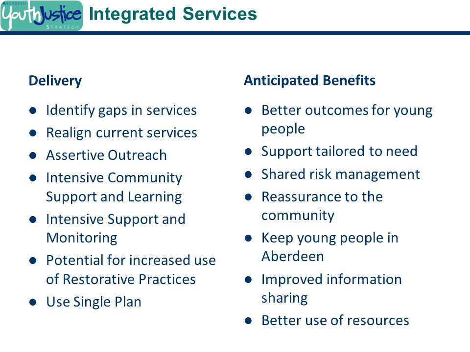 Integrated Services Delivery Anticipated Benefits