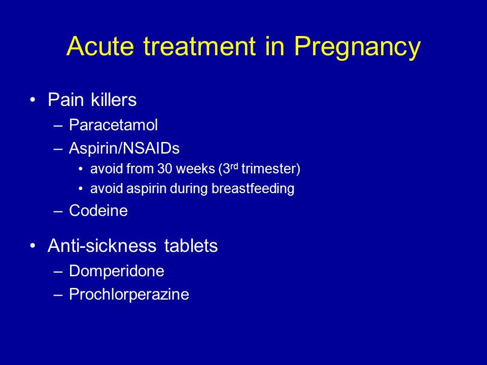Acute treatment in Pregnancy