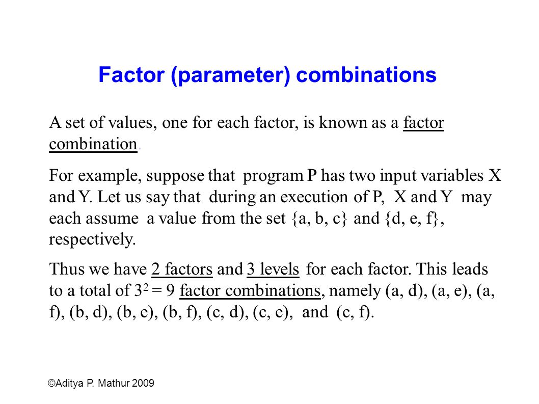 Factor (parameter) combinations