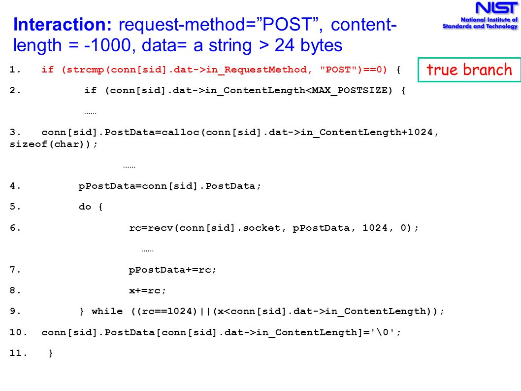 Interaction: request-method= POST , content-length = -1000, data= a string > 24 bytes