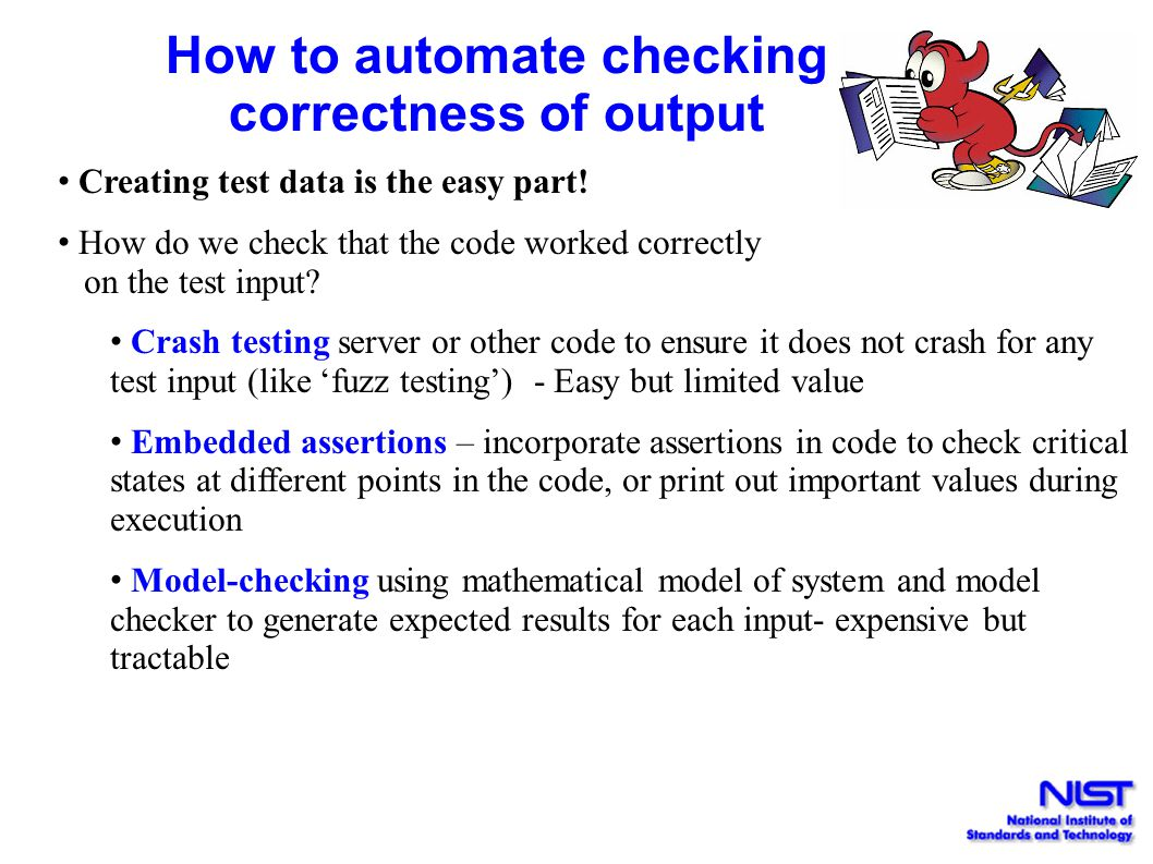 How to automate checking correctness of output