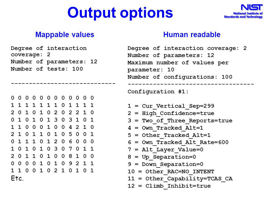 Output options Mappable values Human readable Etc.