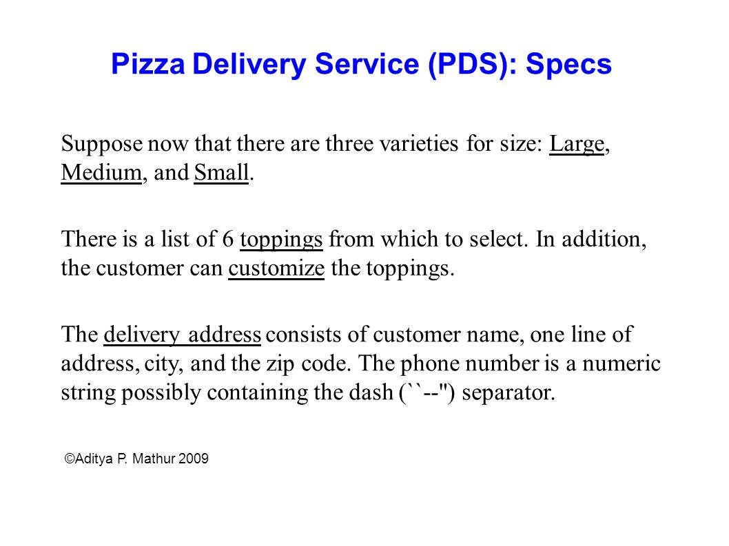 Pizza Delivery Service (PDS): Specs
