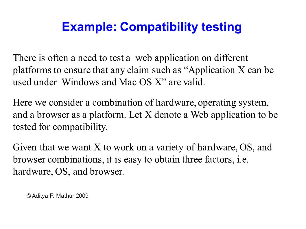 Example: Compatibility testing