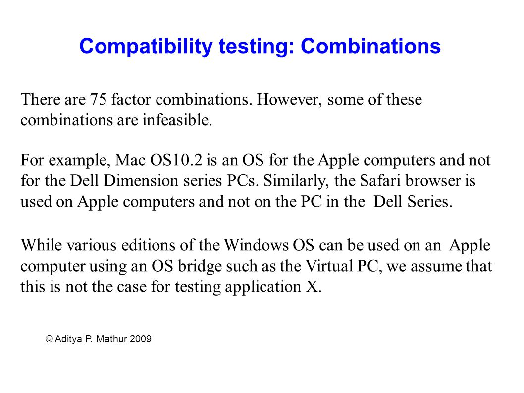 Compatibility testing: Combinations