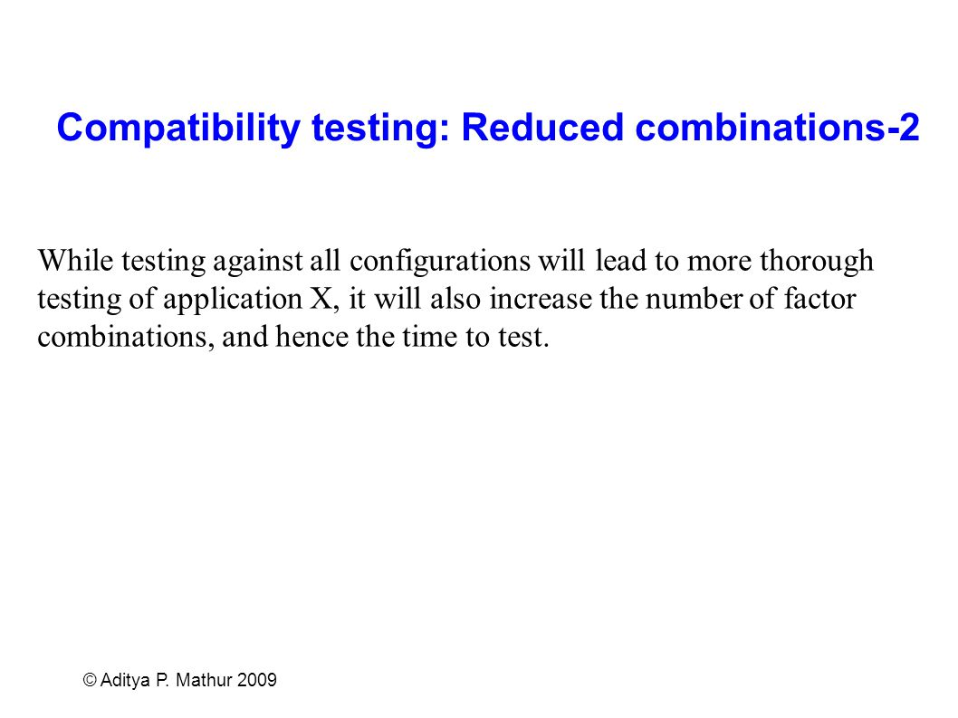 Compatibility testing: Reduced combinations-2