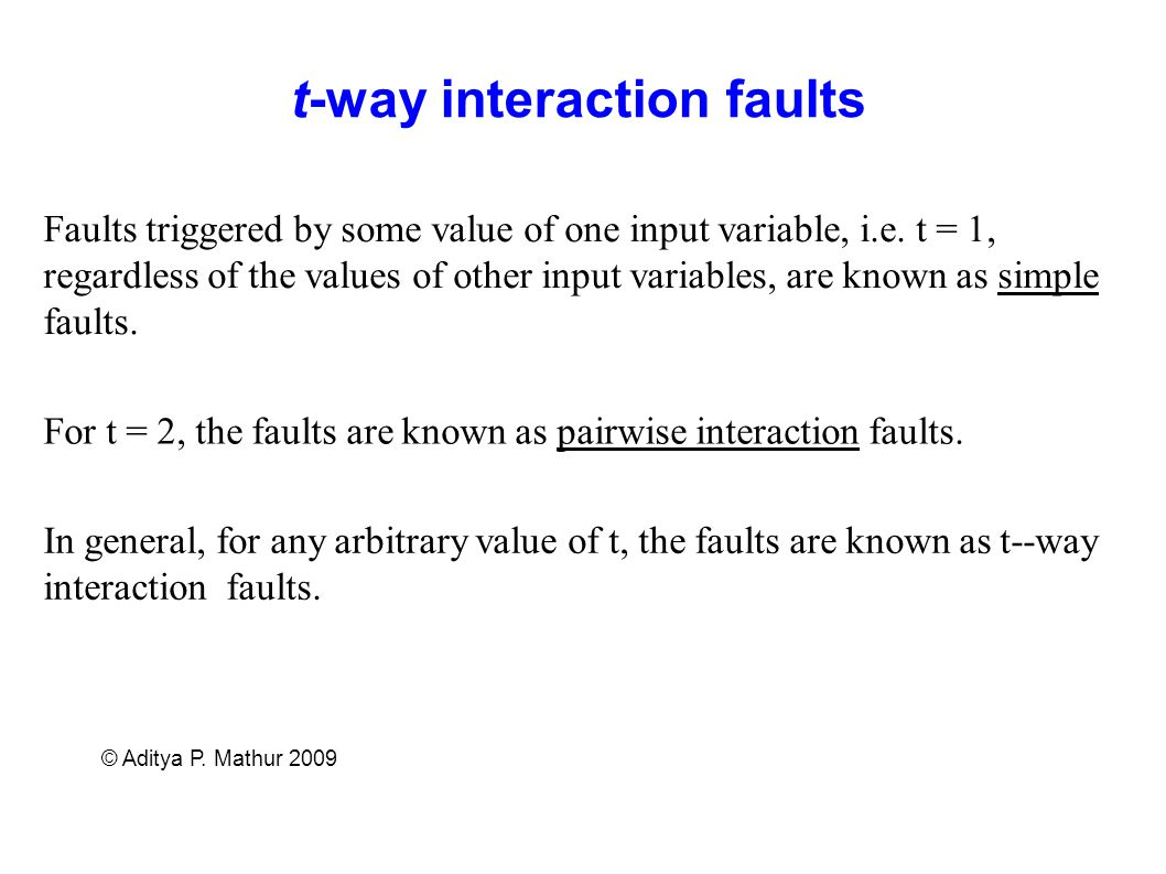 t-way interaction faults
