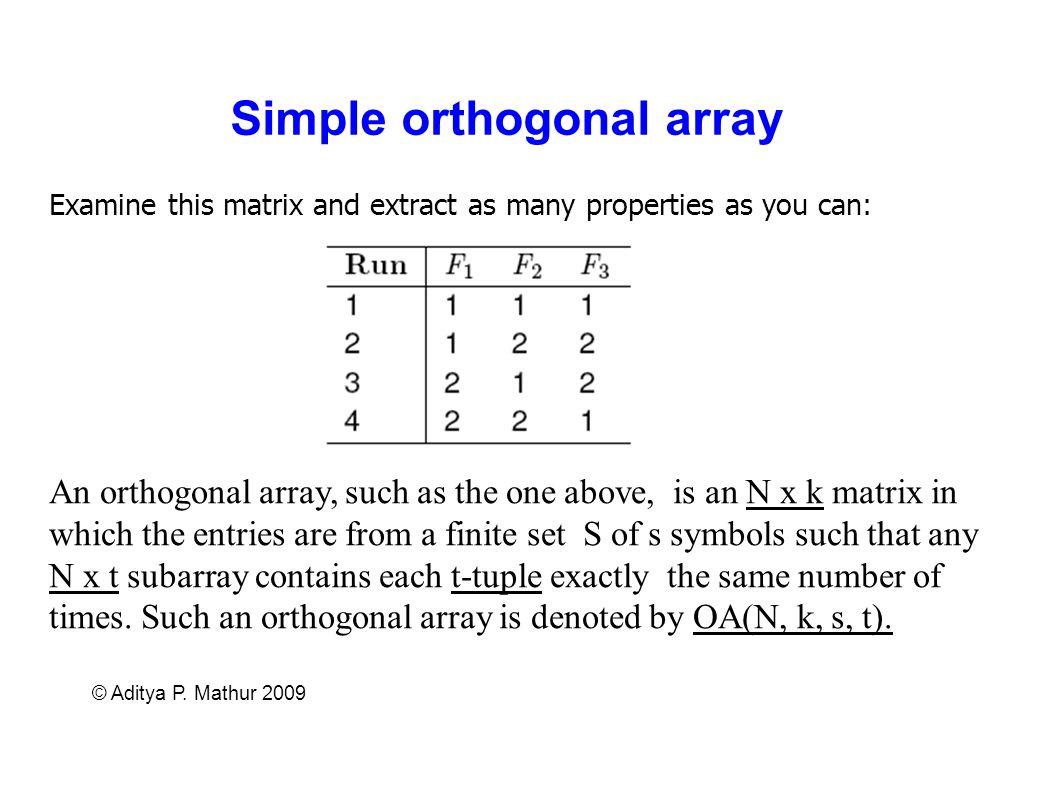 Simple orthogonal array