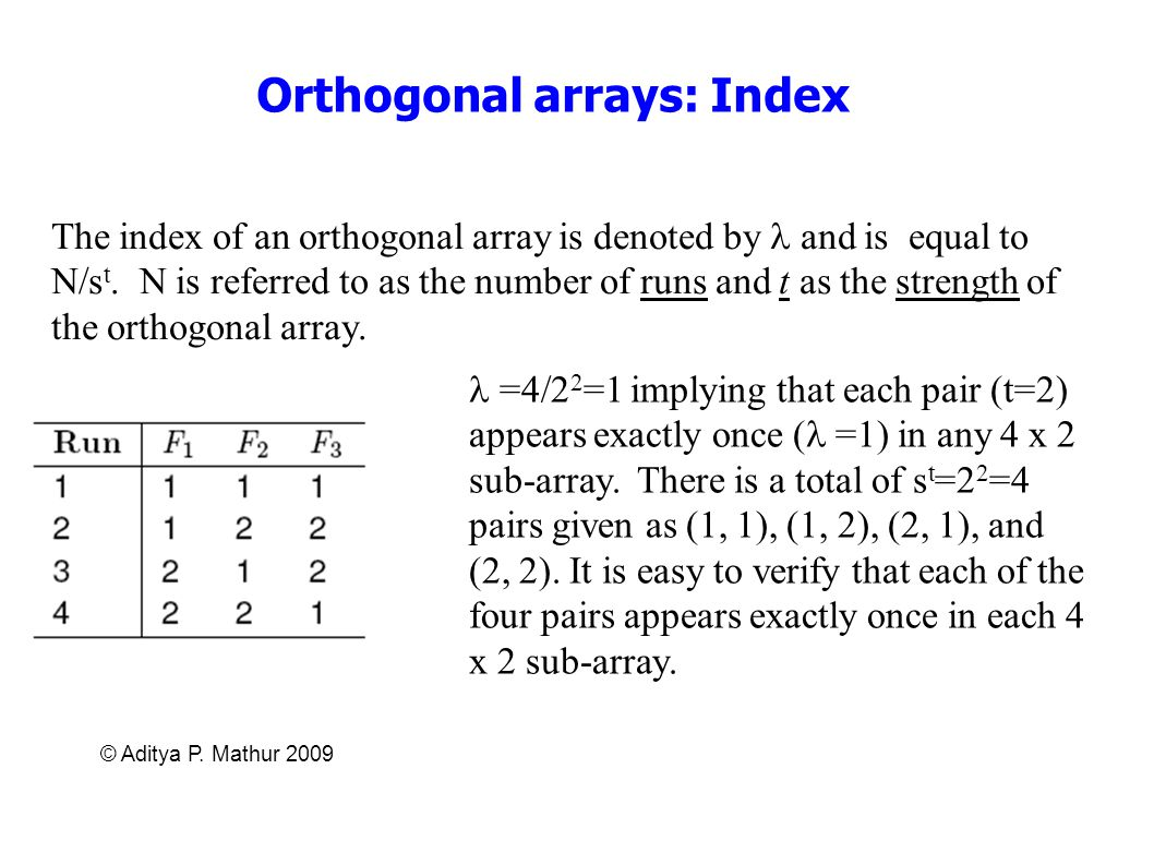 Orthogonal arrays: Index