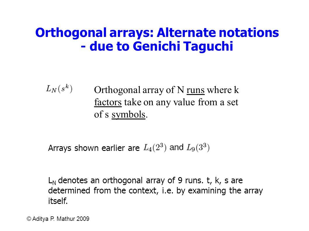 Orthogonal arrays: Alternate notations - due to Genichi Taguchi