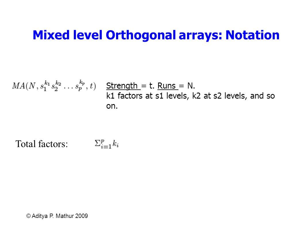Mixed level Orthogonal arrays: Notation