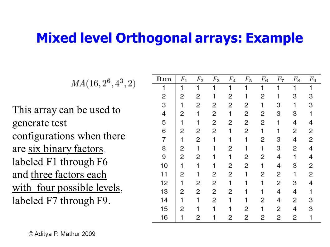 Mixed level Orthogonal arrays: Example